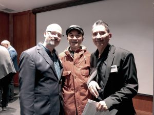 From left: Paul Burns, artist Yaqiu Wang and Brent Turkvan